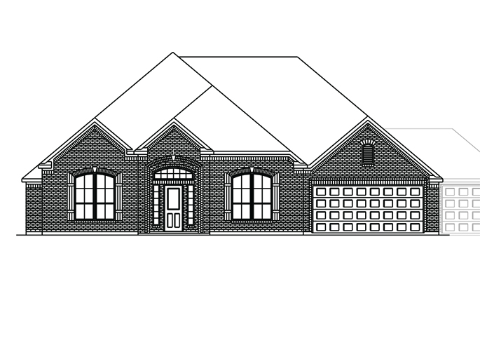The Boxwell  - Elevation A with Optional 3 Car Garage