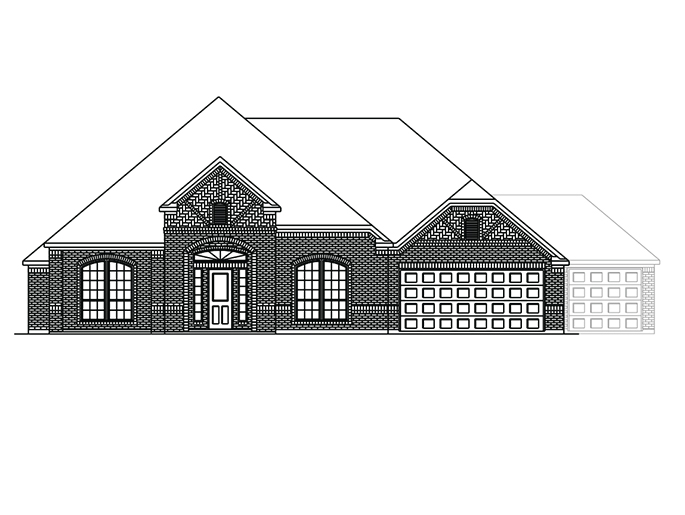 The Boxwell  - Elevation B with Optional 3 Car Garage