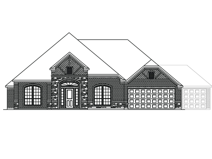 The Boxwell  - Elevation B with Stone and Optional 3 Car Garage
