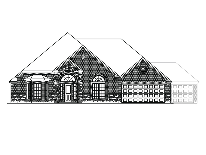 The Boxwell  - Elevation C with Stone and Optional 3 Car Garage