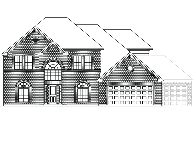 The Horton  - Elevation A with Optional 3rd Car Garage