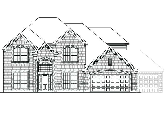 The Horton  - Elevation B with Optional 3rd Car Garage