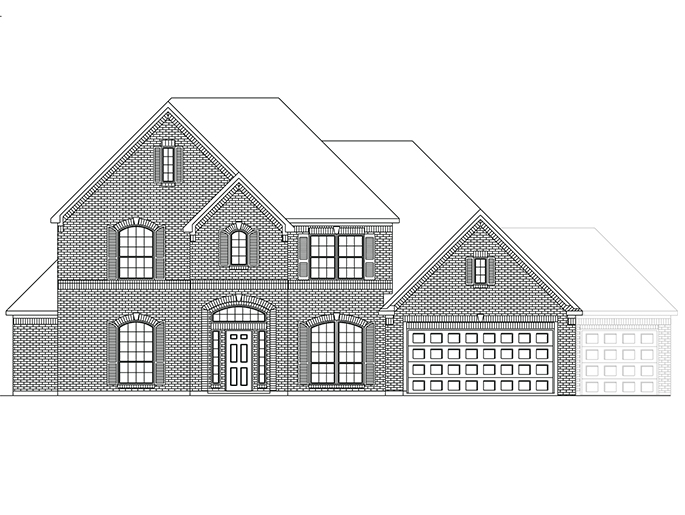 The Oxford - Elevation A with Optional 3rd Car Garage