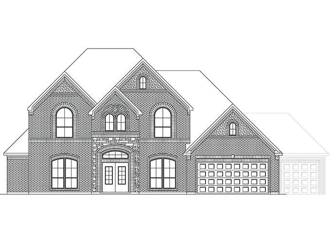 The Oxford - Elevation B with Stone and Optional 3rd Car Garage